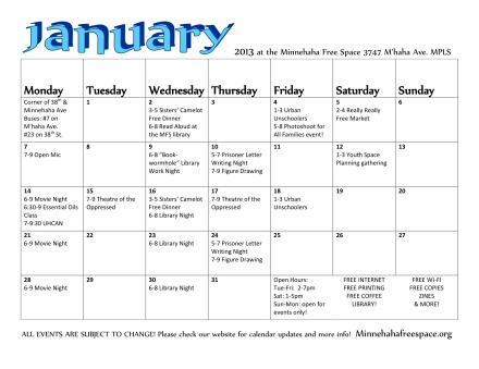 January Calendar for MFS
