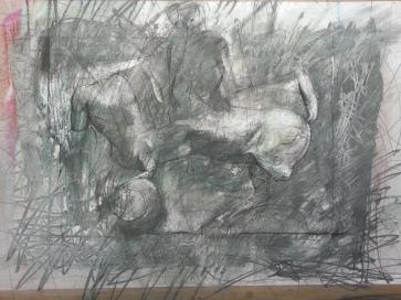 Lapith-Centaur-drawing-by-Alan-Dedman